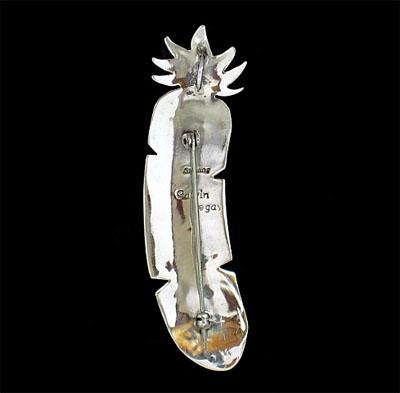 ズニ族インレイのフェザーペンダントヘッド Feathertop010