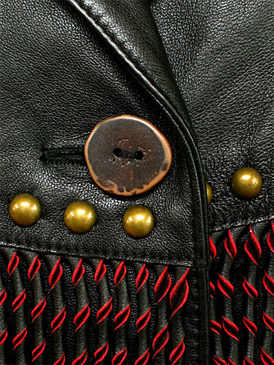 フリンジ&スタッズ ラム革のレザージャケット LJ015